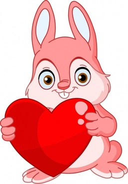 valentine icon cute bunny red heart decor