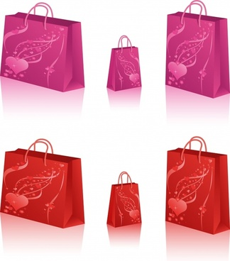 shopping bags icons 3d decor red pink design