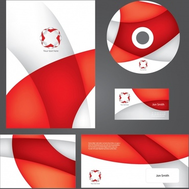 corporate identity sets modern red white abstract design