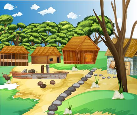 vector village scenee