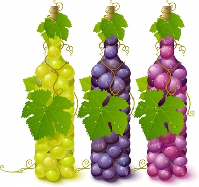 wine advertising background bottles grapes icons colorful wet decor