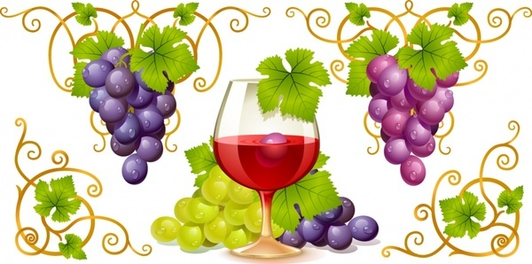 wine advertising background glass grapes icons decor