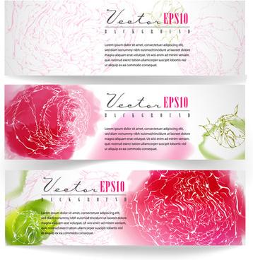 vector vintage floral banners set