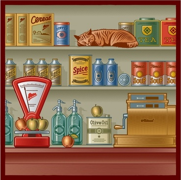 bar shop painting colored vintage design