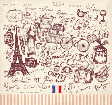 vector vintage paris style post card