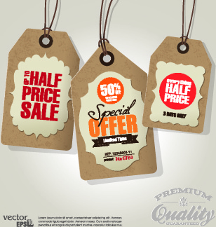 vector vintage price tag set