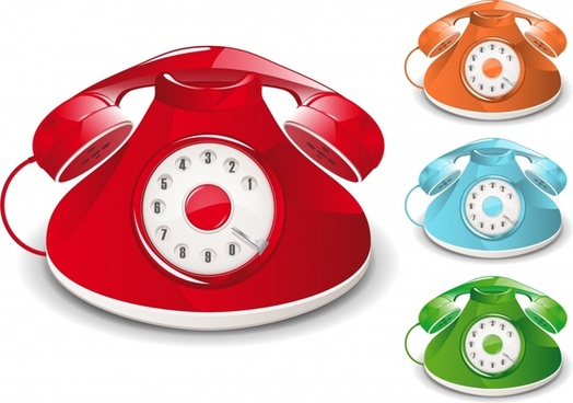 classical telephone templates shiny colored 3d sketch