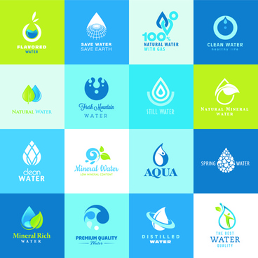 vector water elements logos set
