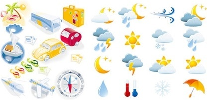 weather travel icons collection various colored symbol