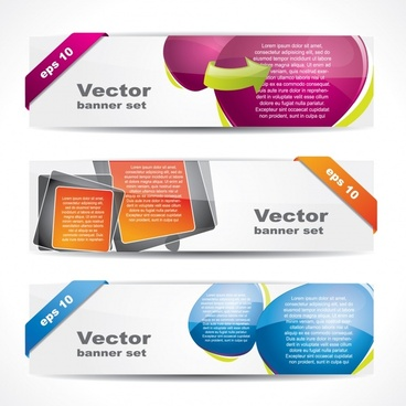 web banner templates colorful modern bright horizontal shape