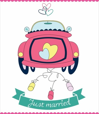 vector wedding cars just married hearts romantic