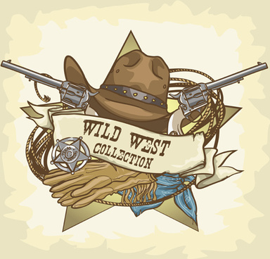 vector wild west vintage labels