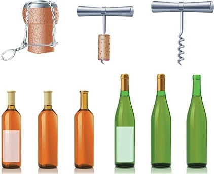 wine bottles and opener icons sets realistic style