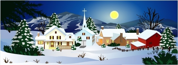 winter landscape background classical colored cartoon design