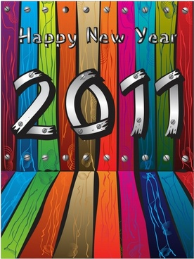 2011 new year banner 3d colorful wooden decor