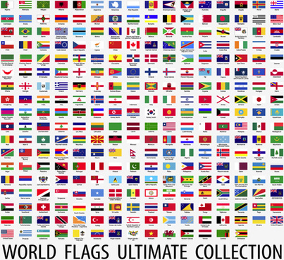 vector world flags design elements set