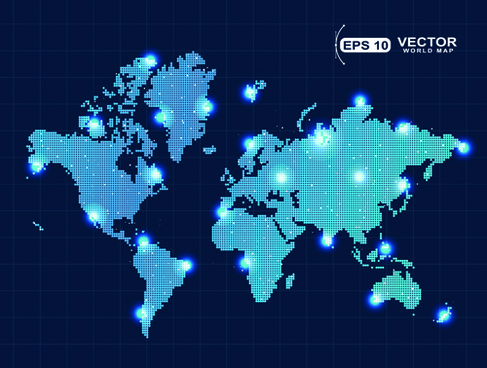 vector world map design graphics set
