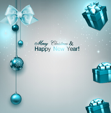vector xmas with new year art background set