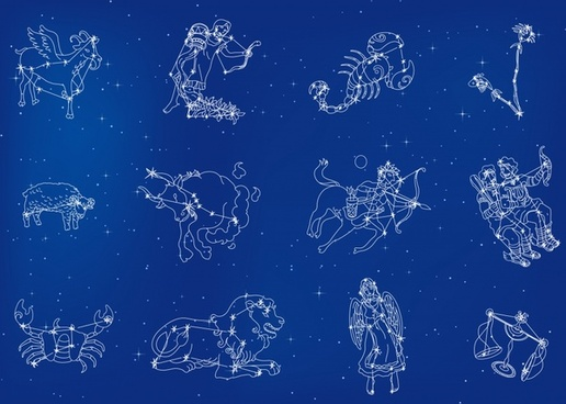 zodiac icons sparkling constellation layout sketch