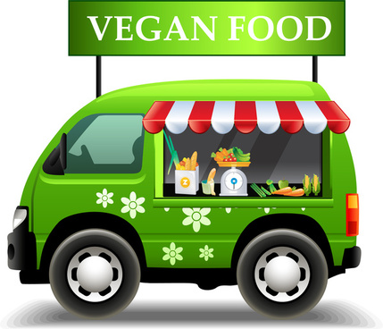 vegan food promotion poster illustration with green car