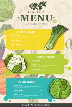 vegan menu cover template classical handdrawn vegetable sketch