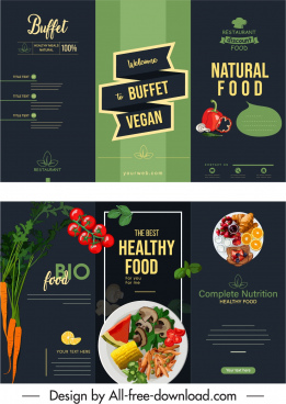 vegan menu cover template elegant colorful dark triflold