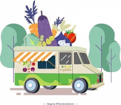 vegetable advertising truck store colored cartoon sketch