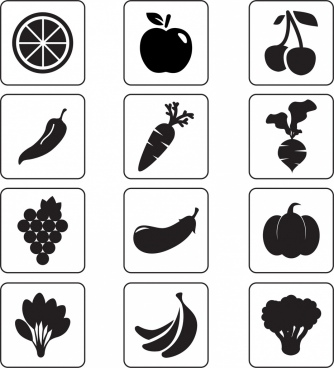 vegetable and fruit icons isolation black silhouettes sketch