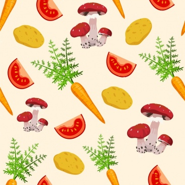 vegetable backdrop mushroom tomato carrot icons repeating decor