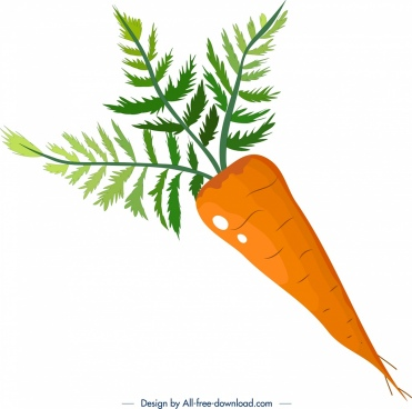 vegetable background carrot icon colorful flat decor