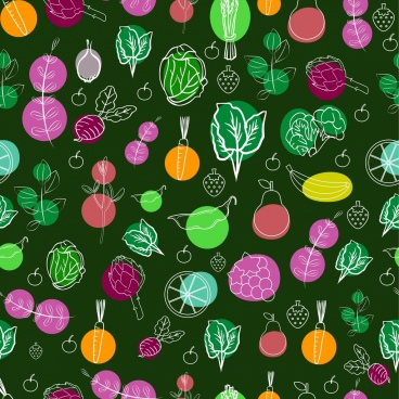 vegetable background colorful repeating sketch