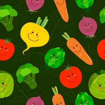 vegetable background colorful stylized icons decor repeating design