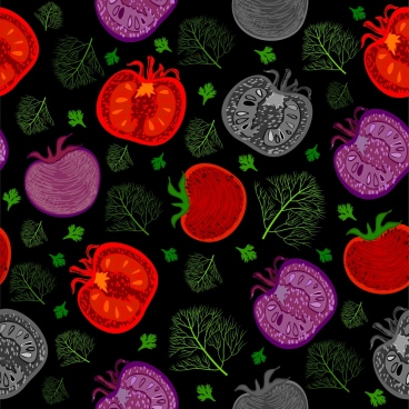 vegetable background onion tomato icon dark repeating decoration