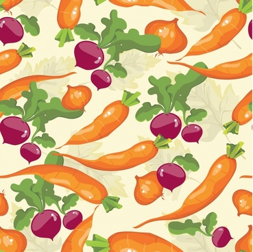 vegetables pattern classical colorful handdrawn carrot beet sketch