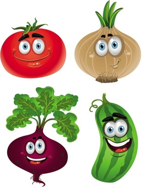 vegetable cartoon image 01 vector