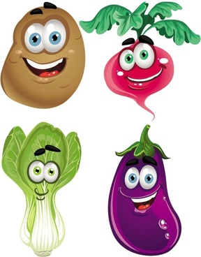 vegetable cartoon image 04 vector