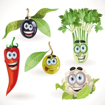 vegetable cartoon image 05 vector