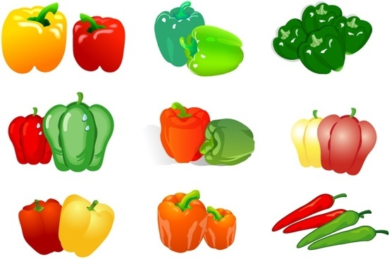 chili pepper icons collection colorful isolation style