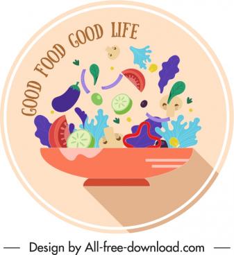 vegetable cuisine label template colorful dynamic design