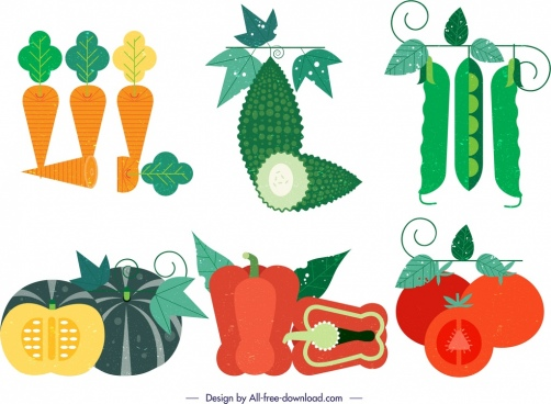 vegetable design elements colorful retro icons decor