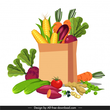 vegetable ingredients background colorful 3d sketch