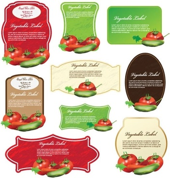 vegetables labels templates modern colorful decor