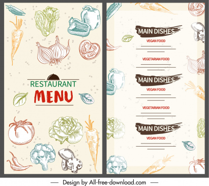 vegetable menu template colorful flat handdrawn decor
