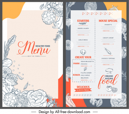 vegetable menu template retro handdrawn sketch