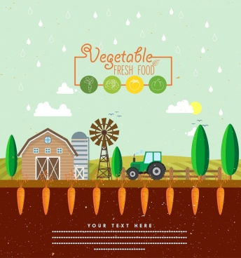 vegetable promotion banner farmland background carrot icons