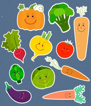 vegetable stickers collection cute stylized face icons