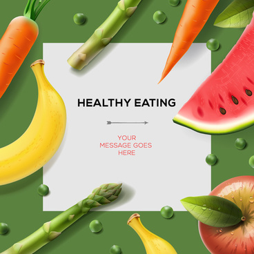 vegetables and fruit with paper background vector