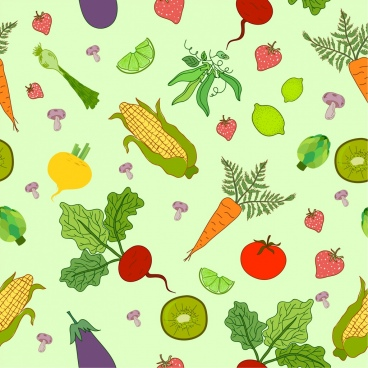 vegetables backdrop multicolored icons decor handdrawn design