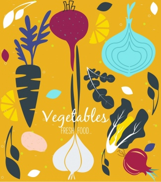 vegetables background colored classical flat sketch