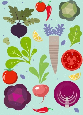 vegetables background colorful flat icons design